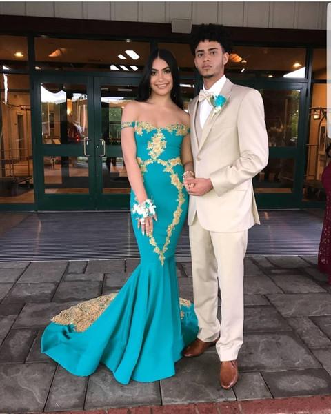 Sexy New Designer Off Shoulder 2019 New Mermaid Prom Dresses Gold Applique Floor Length Formal Evening Prom Dress vestidos