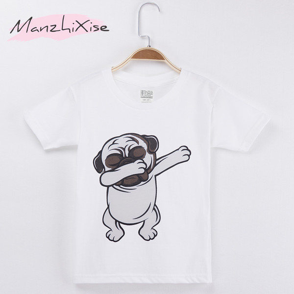 2018 Children Clothing Kids T-shirt Pug Dog Take Off Funny Top Cotton Child Shirt Boy Short T Shirts For Baby And Girl Clothes