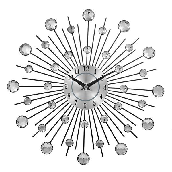 Vintage Metal Kristal Sunburst Duvar Saati Lüks Elmas Büyük Morden Duvar Saati Da Parete Saat Tasarım Ev Dekor Wandklok