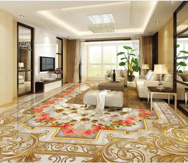 European luxury gold rose marble soft package parquet floor 3D floor tiles