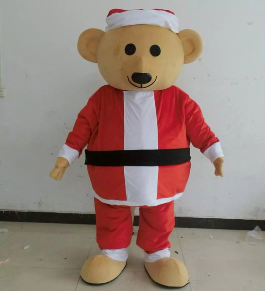 2018 High quality hot light and easy to wear adult brown plush christmas teddy bear mascot costume for adult to wear holiday