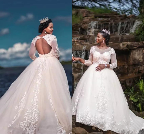 Vintage 2019 african Ball Gown Wedding Dresses Lace Appliques Long Sleeve Cheap Sexy ball gown Plus Size Wedding Bridal Dress