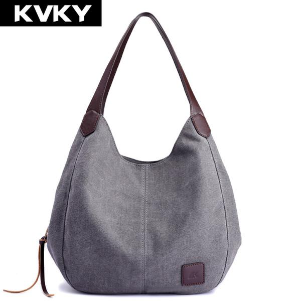 KVKY Brand Women's Canvas Handbags High Quality Female Hobos Single Shoulder Bags Vintage Solid Multi-pocket Ladies Totes Bolsas
