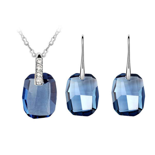 Women Jewelry Sets Necklaces Earrings Blue Square Geometric Swarovski elements Crystal Female Long Dangle Earrings Set High Quality