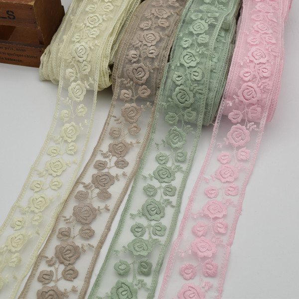 5yards Hot sale delicate embroidered flower tulle lace trim for DIY Wide:5.5CM net lace trimming for garment