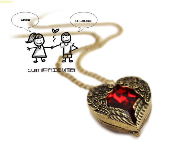 Wholesale-Sweater Chain Lover Necklace Jewelry Complex Ruby Red Crystal Stone Love Angel Wings Peach Heart Long Pendent Necklace Jewelry