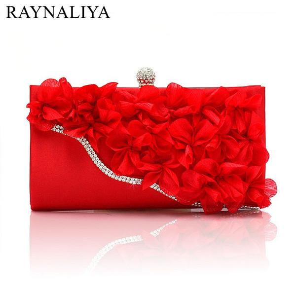 Дамы партии Маленькие женщины клатч вечерняя сумка свадебный кошелек сумка красный цветок свадьба Кристалл день клатчи SMYSFX-E0007