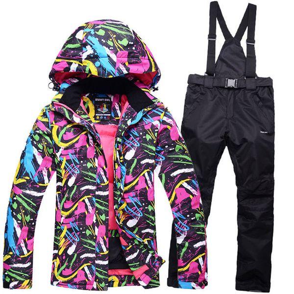 colorful Cheap Snow suit sets Women Snowboarding Clothes Waterproof Windproof -30 Warm Winter Coats Ski Jackets + Bib pants