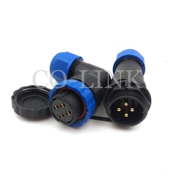 SD20, 4pin conector de fio de alimentação à prova d 'água IP68 macho para fêmea para ao ar livre, corrente nominal 25A 250 V, 20mm painel de corte LED conector