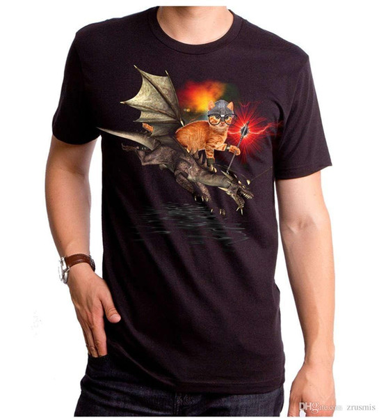 Summer 2018 Famous Brand New Cat riding Dragon Rider of Purr with Staff T-shirt S M L XL 2XL Top Black T-Shirt T shirt Men's Shi