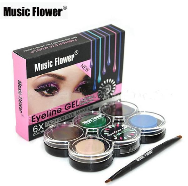 Makeup Eyeliner Gel 6 Colors Music Flower Brand Cosmetics Gel Eye Liner Cream 24h Lasting Waterproof Smoked Eyes Make Up Palette Set