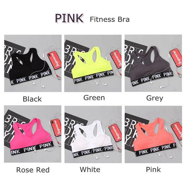 top popular Love Pink Letter Sexy Women Sports Bra Running Yoga Vest Shirts Shakeproof Gym Fitness Bra Push Up Elastic Crop Tops Underwear LK01 2019