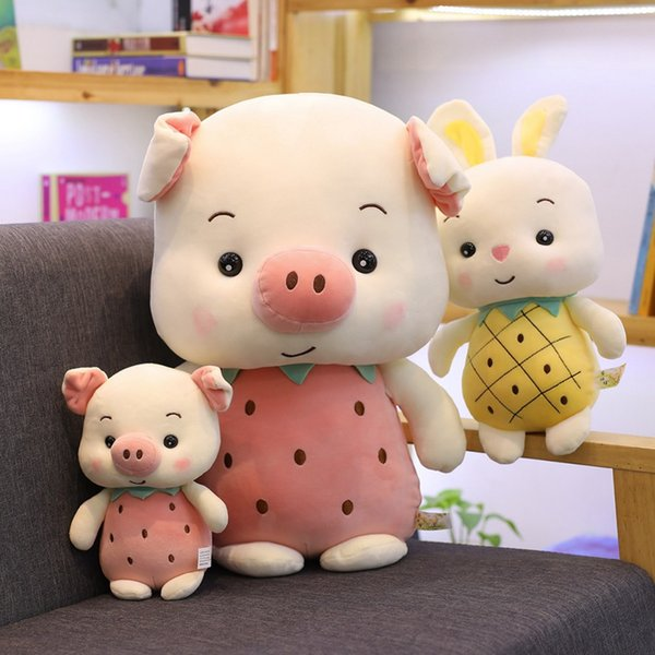 1pc 23-50cm Kawaii Stuffed Plush Fruit Pig Toys Rabbit Girl Gift Brinquedos Soft Animal Toys For Children Baby Appease Doll Gift