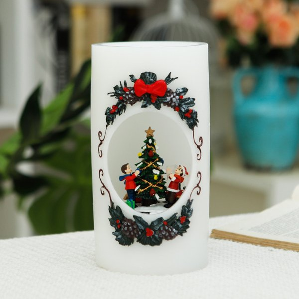 Creative Hand-painted LED Candle Smart Home Lamp Holiday Gift Romantic Proposal Lamp Christmas Candle Lamp Holiday Gift