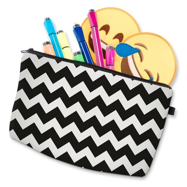 Hot Sale Lady Travel Organizer Pouch Storage Makeup Bag Women Splice Color Wavy Striped Printing Zipped Cosmetics Bags Poular