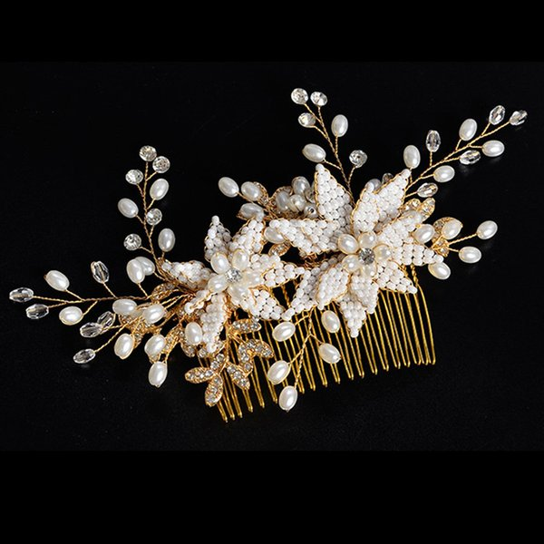 Fairy Floral Rose Gold Bridal Comb Handmade Hot Sell Free Shipping Crystal Pearl Wedding Hair Accessories Headpieces Jewelry Headpiece