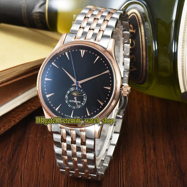 7 Color Luxry New MASTER ULTRA THIN 1368420 Moon Phase Black Dial Automatic Mens Watch Rose Gold Case 316L Steel Strap Gents Watches