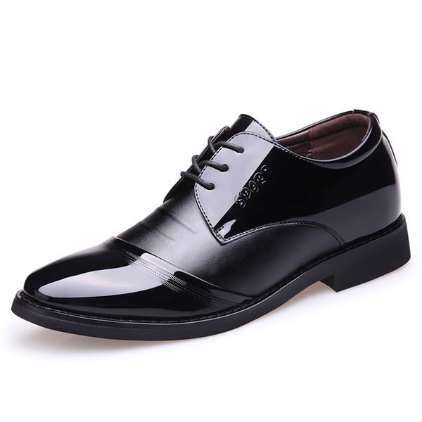 Erkekler için Yükseklik Artırma 6cm Erkekler Elbise Ayakkabı Siyah Rugan Biçimsel ayakkabı erkekler Kahverengi Siyah Düğün Asansör Oxford Ayakkabılar