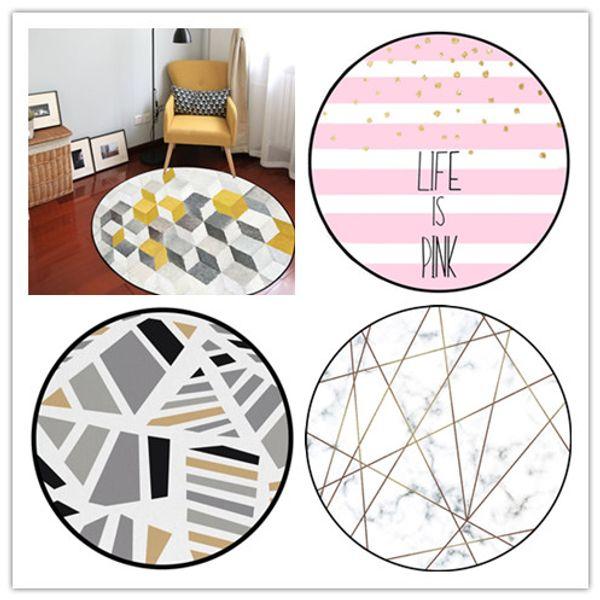 Geometria nórdica Rodada Tapete Tapete Para Sala de estar Banheiro Crianças Tapetes Do Quarto E Tapetes Para Sala de estar Computador Cadeira Tapete 5