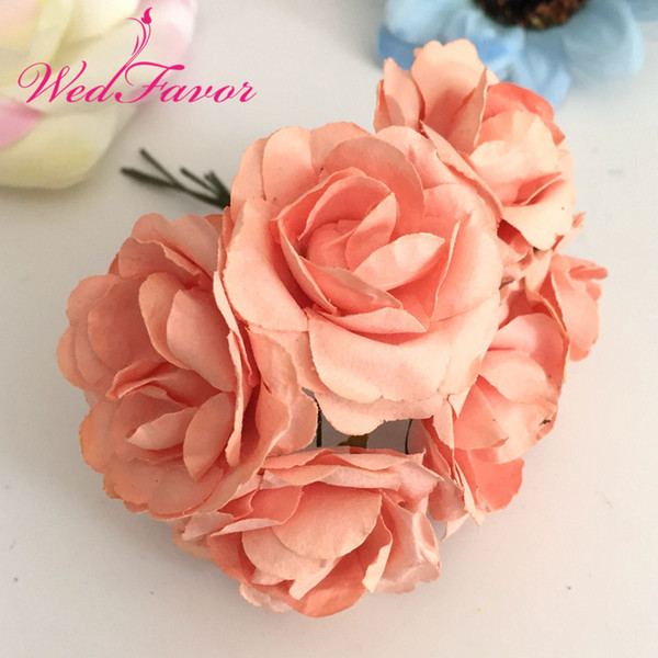 144pcs 3.5cm Imitation Mulberry Paper flowers Artificial Scrapbooking Rose Bouquet For Garland Corsage Box Wedding Decoration