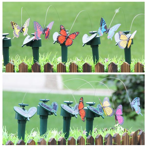 Künstlich Schmetterling Butterfly Flattern Garten Fliege Plastik Sonnenenergie