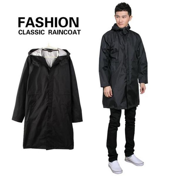 Balıkçılık Yağmur Ceket Erkekler Panço Ceketler Siyah / Mavi pelerin Yağmurluk Erkekler su geçirmez uzun