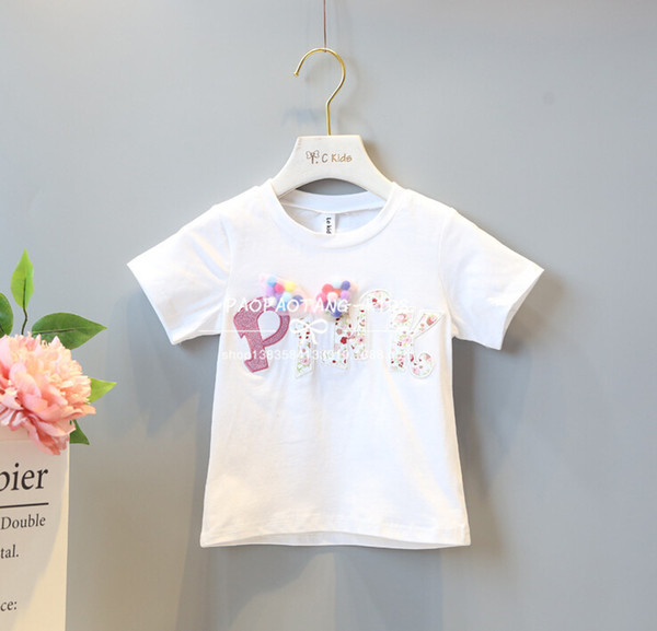 cute T-shirt 2018 INS hot styles New summer girl kids cute cotton flowers printed letter blouse kids elegant high quality t shirt 2 colors