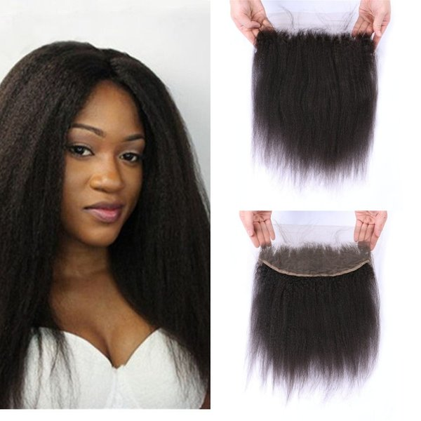 Indian Lace Frontal Closure Bleached Knots Free Part Natural Color Virgin Kinky Straight Full Frontal Lace Closure