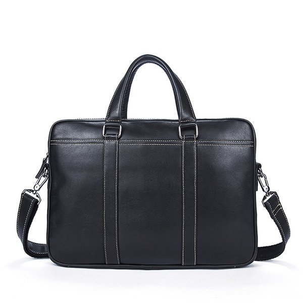 2018 Time-limited New Fashion Genuine Leather Famous Brand Men Briefcase 14 Inch Commercial Laptop Cross-body Shoulder Bag