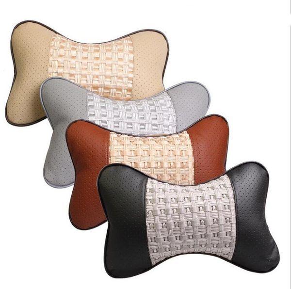 Auto Car Seat pillow headrest cushion Universal Fit SUV sedans front/back seat automotive parts PU leather ice silk design