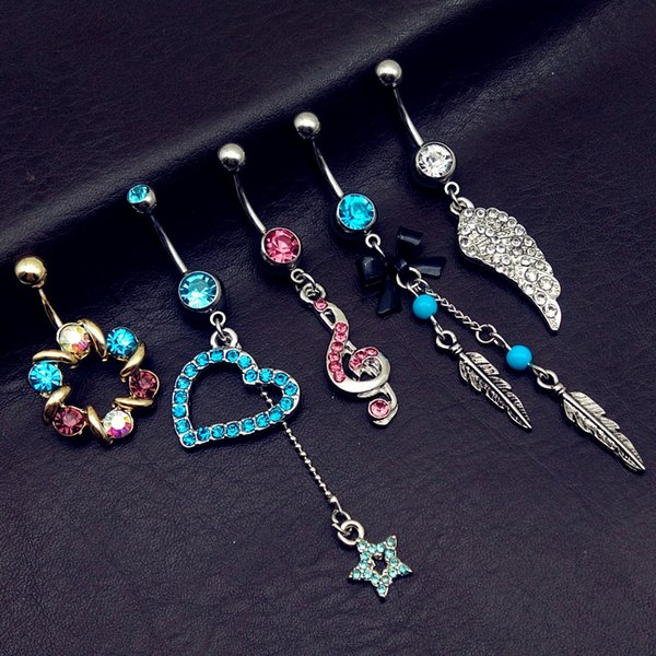 5pcs mix style vintage blue wings note star bow long dangle navel belly bar button rings body piercing jewelry