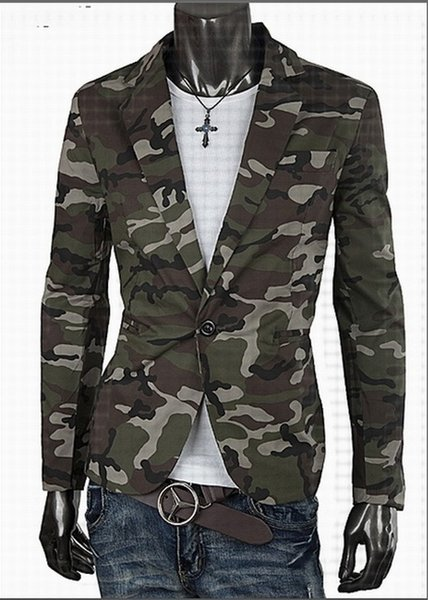 Spring Blazer Men Fashion Casual Mens Cotton Short Slim Army Camouflage Jacket Coat Lapel Man Suit Brand Costume Homme M-2XL
