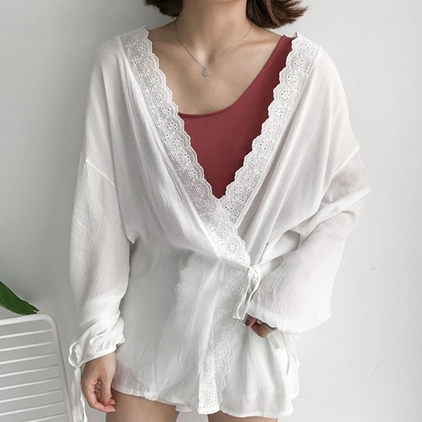 Women Casual Thin Sunproof Kimono Cardigan Knitwear Blue Summer Lace Patchwork Loose Lace-Up Knitted Fashion Coat Top Clothing