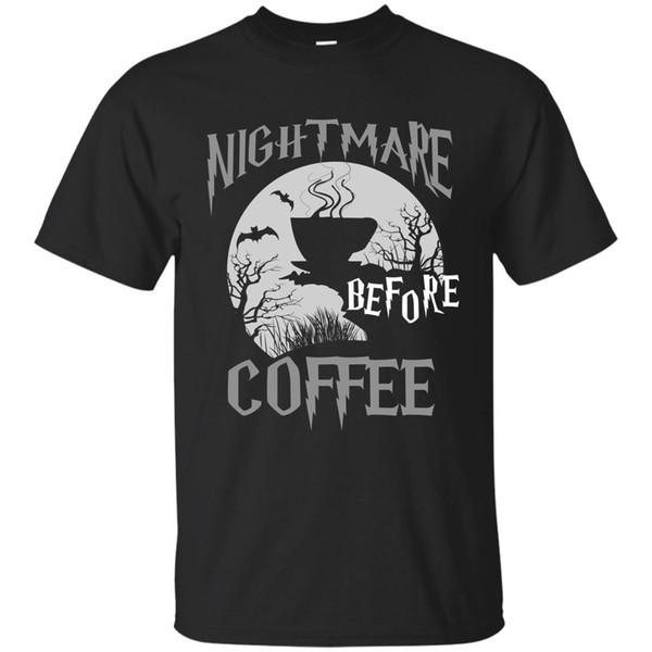 Cute Nightmare Before Coffee Halloween Funny Mug Gift color Black, Navy T-Shirt Men Clothing Plus Size top tee