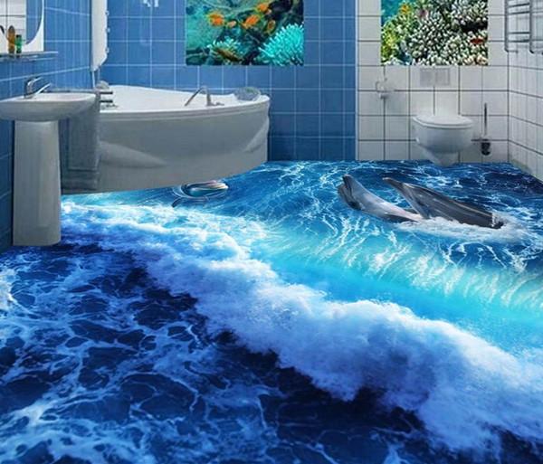 PVC Self-adhesive Floor Dolphin Surf Ocean World 3D Bathroom Living Room Floor Tiles wallpaper modern