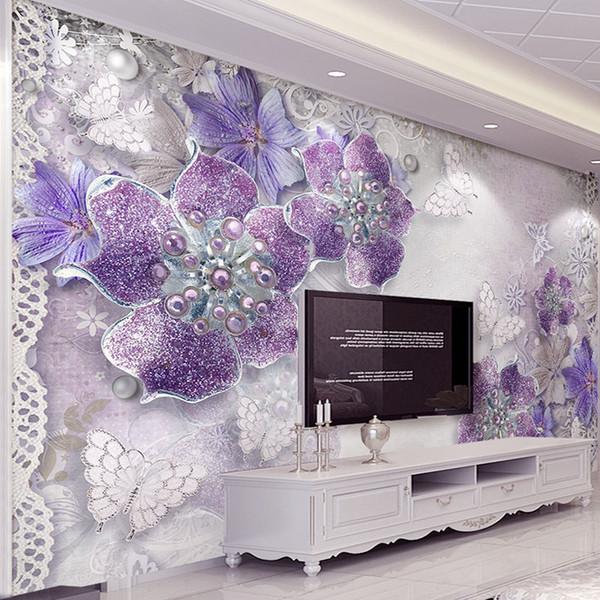 Großhandel Hohe Qualität Benutzerdefinierte 3D Stereoskopischen Lila Blumen  Schlafzimmer Tapete Designs TV Hintergrund Wandbild Moderne Wohnkultur ...