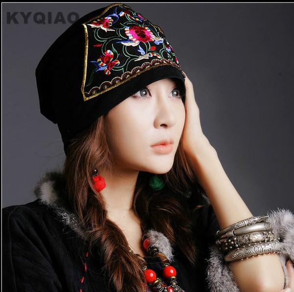 KYQIAO 2017 летние шляпы банданы оригинальный дизайн вышивка цветы старинные шапка этническая шляпа для женщин