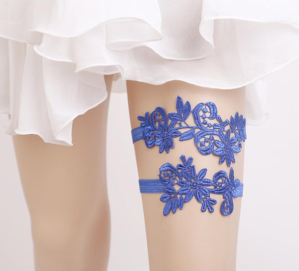 New Thigh Ring Leg garter Wedding Garters White/Blue Lace Embroidery Flower Sexy Garters 2pcs set for Women/Bride