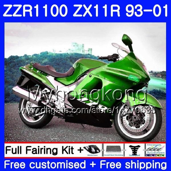 Body For KAWASAKI NINJA ZX 11R ZX11R 93 98 99 00 01 206HM.29 ZZR 1100 ZX11 R ZZR1100 ZX-11R 1993 1998 1999 2000 2001 Green black Fairings