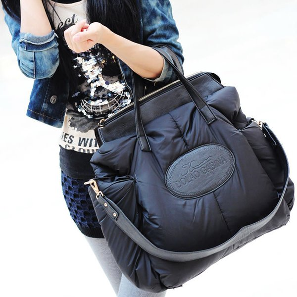 Fashion space cotton material large package down jacket handbag large capacity winter ladies shoulder bag sac a main bayan canta
