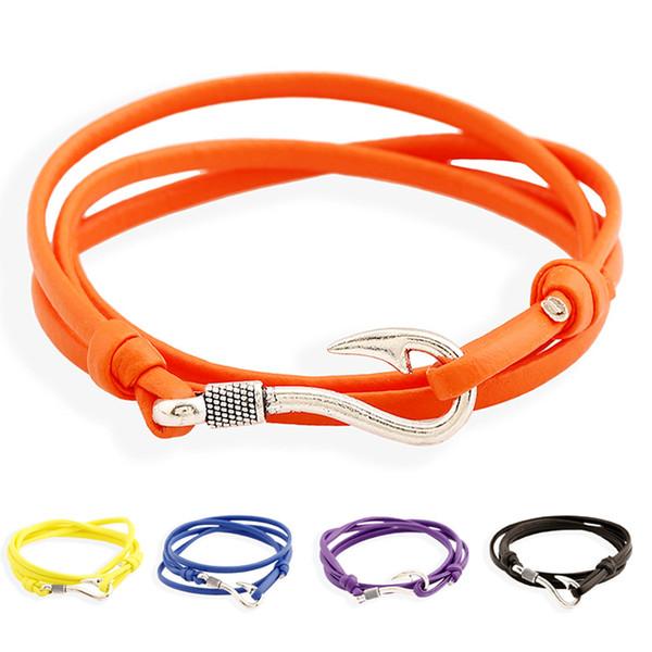 Top Sale Men Women Unisex Fish Hook Bracelet 3MM Soft Leather Wrap Bracelets Exquisite Rope with Silver Anchor Wrap Bracelets
