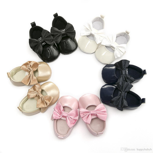 New Arrival Princess bowknot Baby Moccasins Soft bottom Shoes PU Newborn Baby First Walkers free shipping