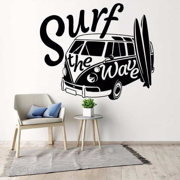 Modern Wall Decal Surf the Wave with Camper Car Old Vintage Auto Car Wall Mural Vinyl Camper Van Wall Poster
