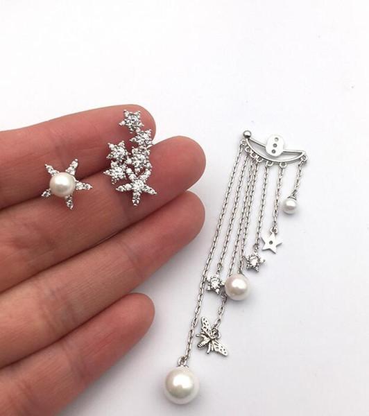 Fashion simple ladies earrings zircon tassel pentagram ear clip pendant earrings jewelry