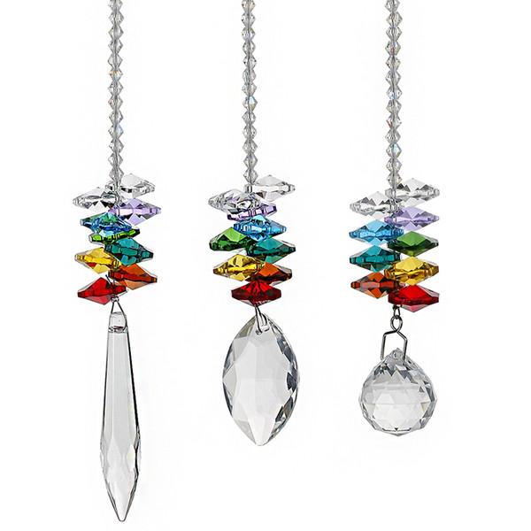 3pcs/set Crystal Ball Pendant Accessories Colorful Octagonal Hanging Drop Pendant Suncatcher Parts Wedding Home Decor