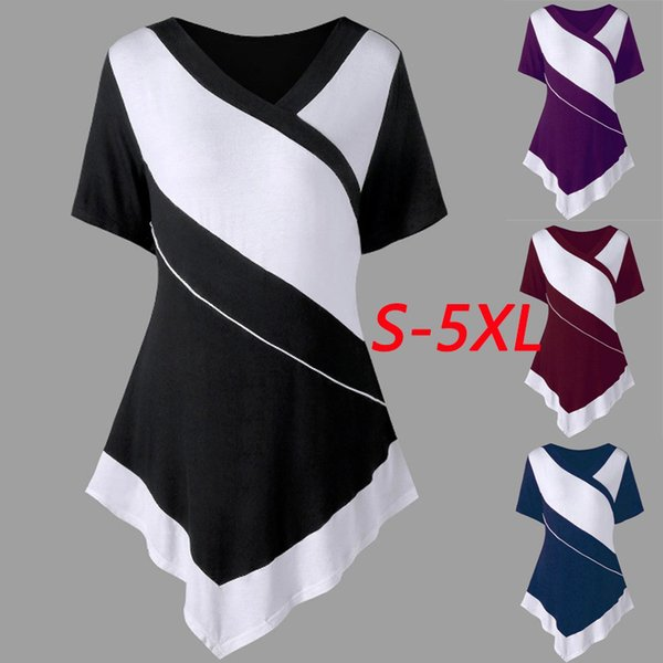 Плюс размер женщин V-образным вырезом пуловер с коротким рукавом нерегулярность лоскутное хлопок футболка вино красный фиолетовый черный