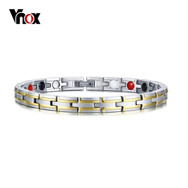 Vnox Stainless Steel Therapy Healing Magnetic Bracelets for Women Men Bio Energy Germanium Stones Health Care Jewelry