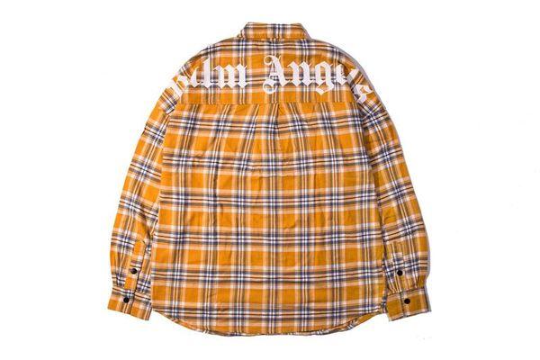 2018FW Migliore versione PA Logo stampato donna uomo Plaid Camicie Hiphop Street Marca PA camicia da uomo casual oversize
