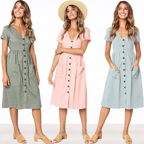 914843f19f9 2018 Women's Fashion Summer Short Sleeve V Neck Button Down Swing Midi Dress  with Pockets Beach