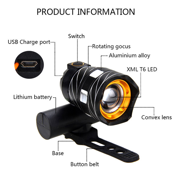 Zoomable 15000LM 2X XML T6 LED Bicycle Front Light USB Rechargeable Headlamp HOT